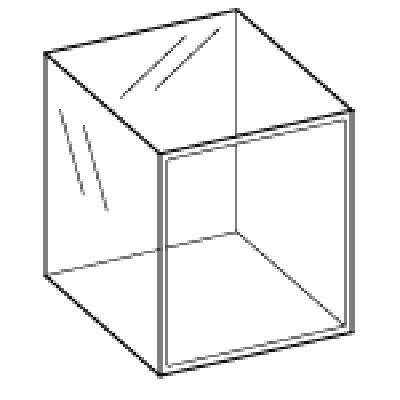 Acrylic Four Sided Cube 300mm